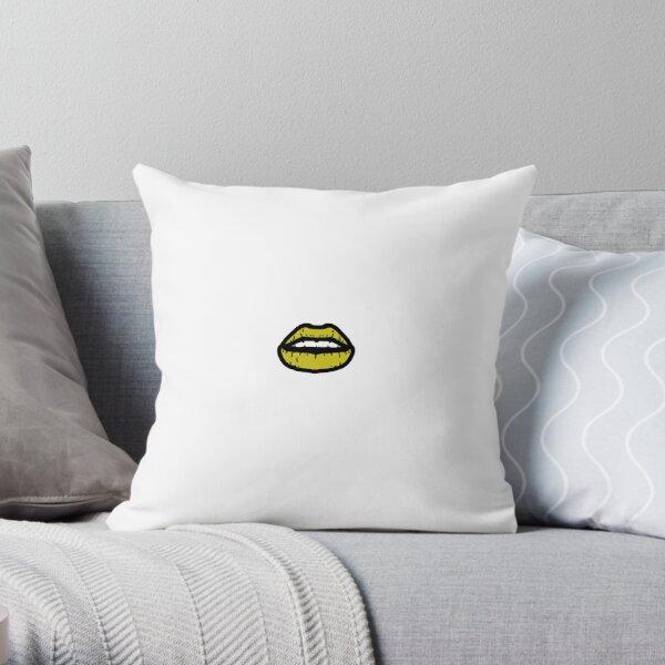 Dark Yellow Lips Throw Pillow