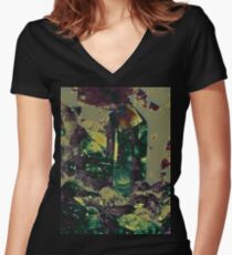 Green Crystals Women's Fitted V-Neck T-Shirt