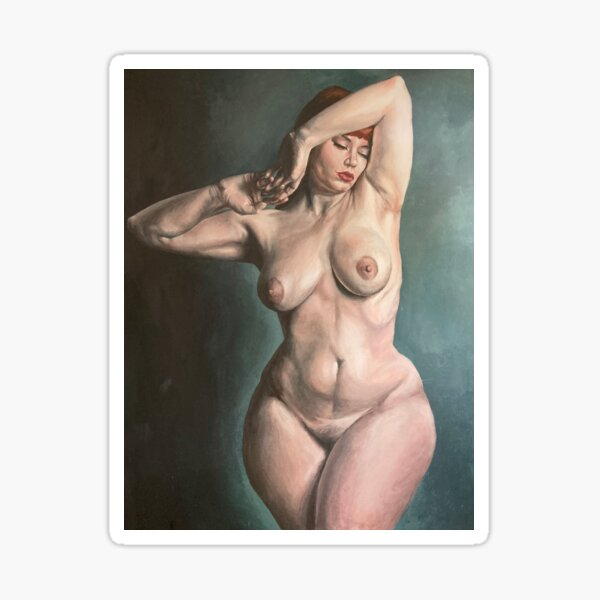 Venus ~ Painted Nude Study of a Curvaceous Redhead Sticker