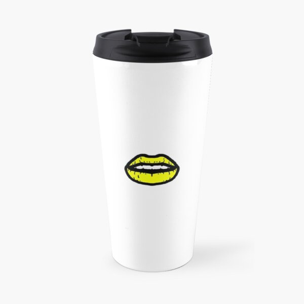 Neon Yellow Lips Travel Mug