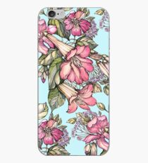 Red Trumpet Vine flowers on blue iPhone Case