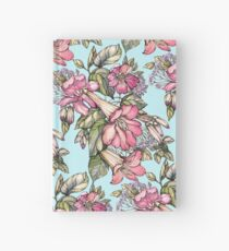 Red Trumpet Vine flowers on blue Hardcover Journal