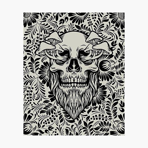 Skull Mushrooms • Gray & Black • Goth Photographic Print
