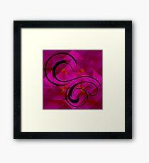 Black Swirls on Magenta Shapes Framed Print