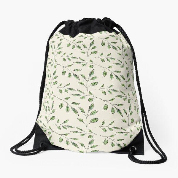 Peaceful Green Leaves Pattern Drawstring Bag