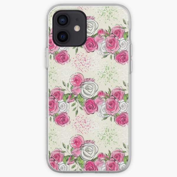 Pink Rosy Boughs: Pink and White Rose Floral Pattern iPhone Soft Case