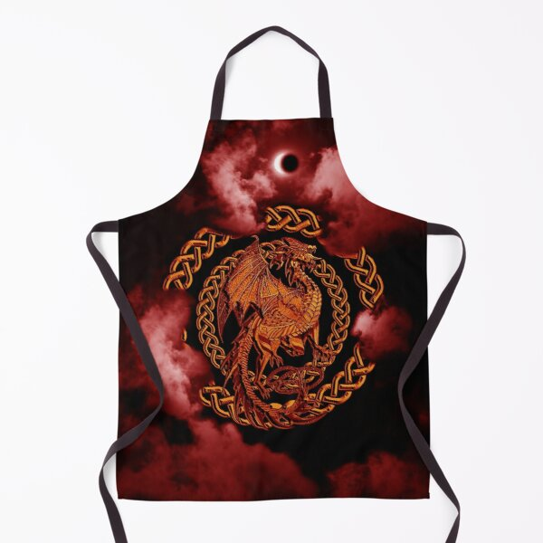 Gold Celtic Dragon Pink Moon Eclipse in the Clouds Apron