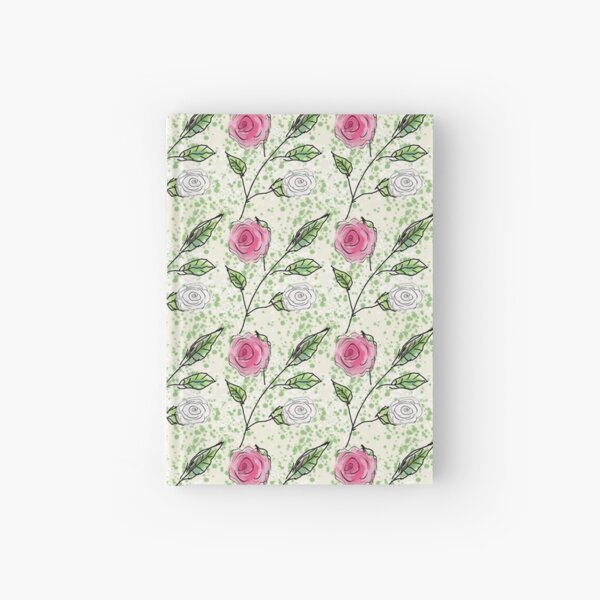 Pink and White Rosy Geometric Floral Pattern Hardcover Journal