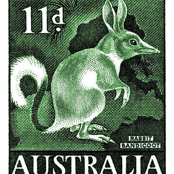 1959 Australia Bandicoot Postage Stamp  by retrographics