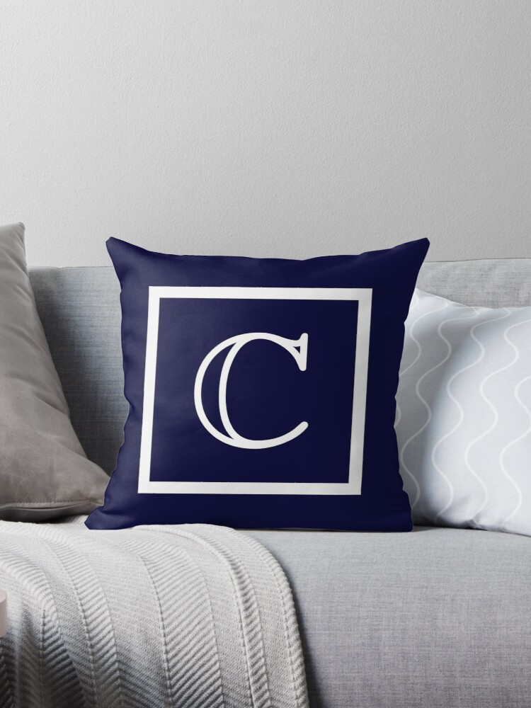 Navy Blue White Monogram C In A Square Throw Pillows By Rewstudio