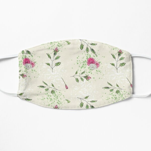 Cute Ditsy Roses Floral Pattern Flat Mask