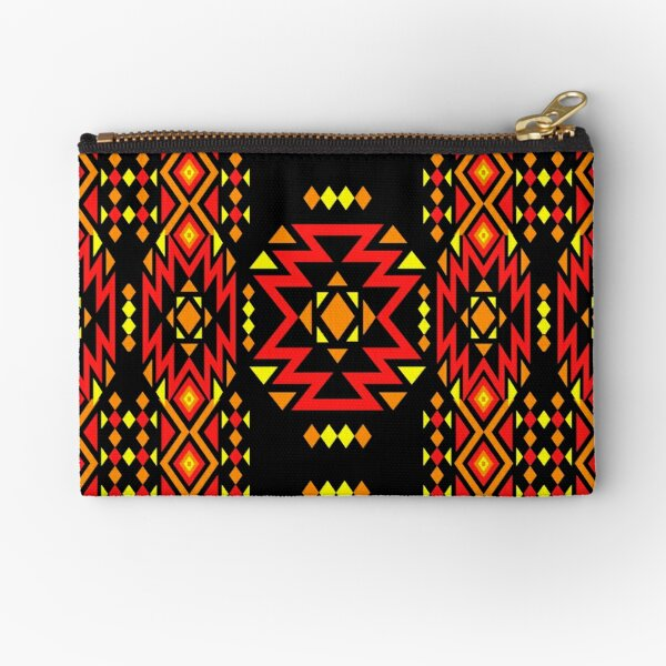 Red / Fire Color Geometric Pattern - Black Zipper Pouch