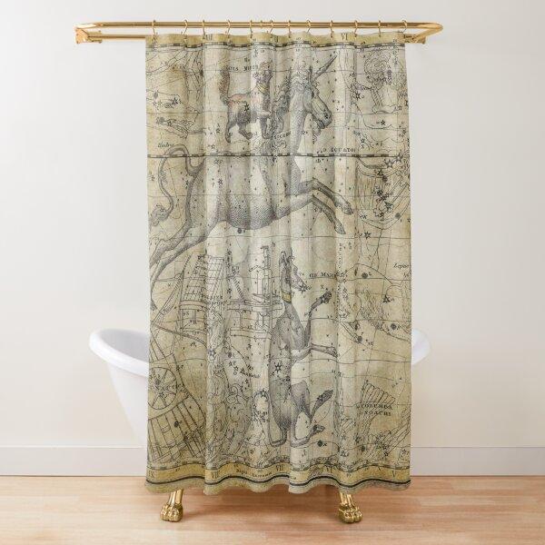 Unicorn Orion Vintage Antique Celestial Old Nautical World Map  Shower Curtain