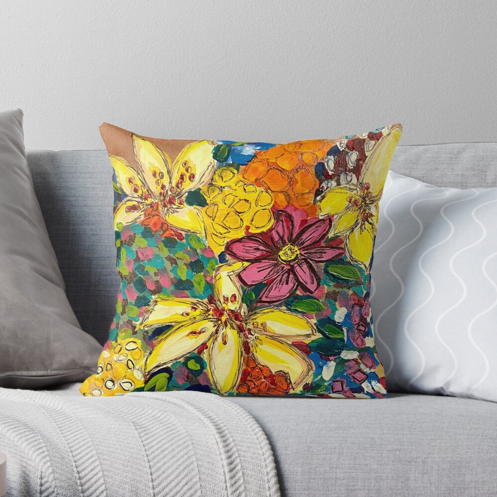 Special Day Cheery Flowers Throw Pillow