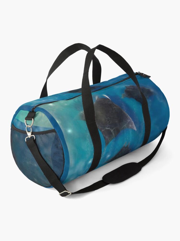 Alternate view of Playful Manta rays_ Sealife Pacific Ocean waves Duffle Bag