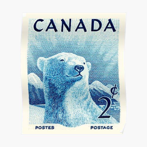 Vintage 1953 Canada Polar Bear Postage Stamp Poster