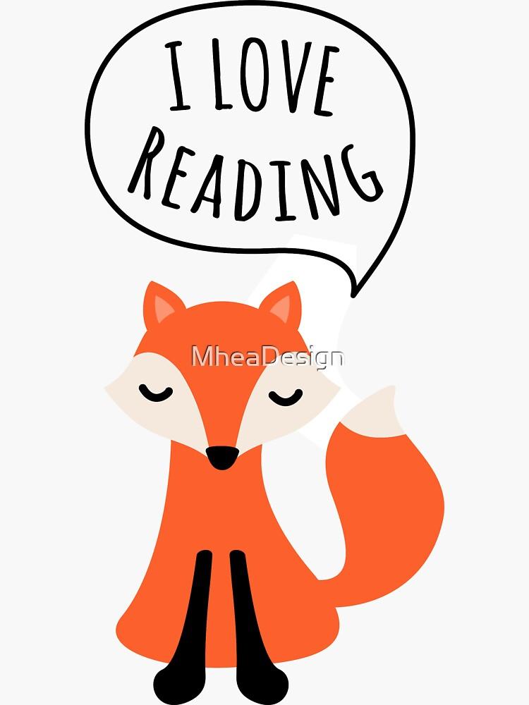 I love reading, cute cartoon fox by MheaDesign