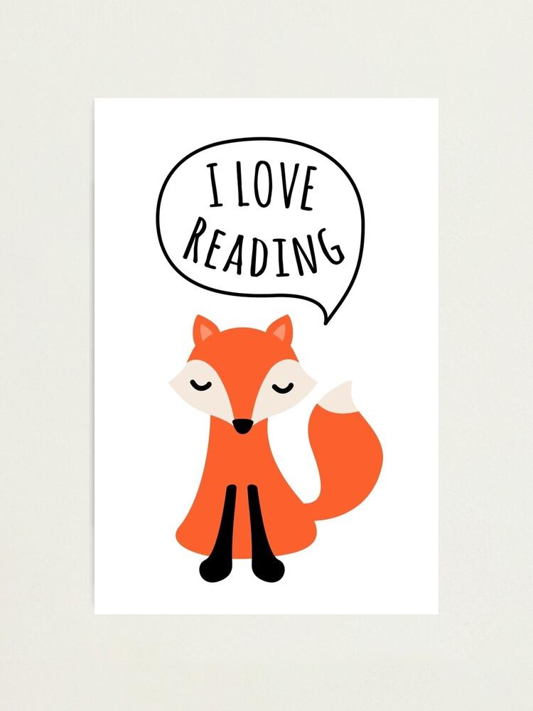 "I love reading, cute cartoon fox"" Photographic Print by MheaDesign |  Redbubble"