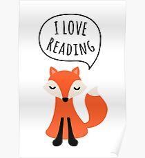 I love reading, cute cartoon fox Poster