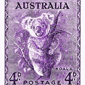 Antique 1937 Australia Koala Postage Stamp by retrographics