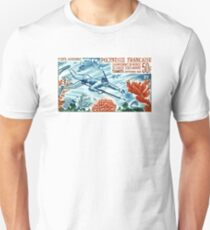 1965 French Polynesia Spearfishing Postage Stamp Unisex T-Shirt