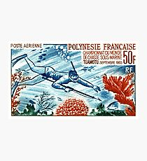 1965 French Polynesia Spearfishing Postage Stamp Photographic Print