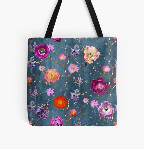 May Chinoiserie Garden in Marine All Over Print Tote Bag