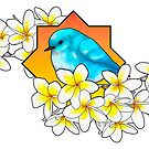 Birdie with frangipani flowers by Duna Longhorn