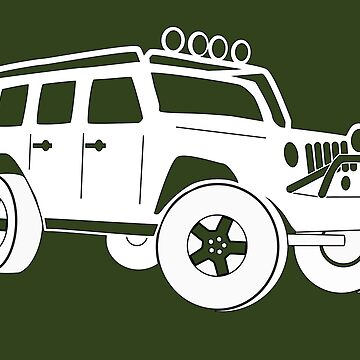 Jeep JK Wrangler Touring Spec:  Sticker / Tee - White by TheStickerLab