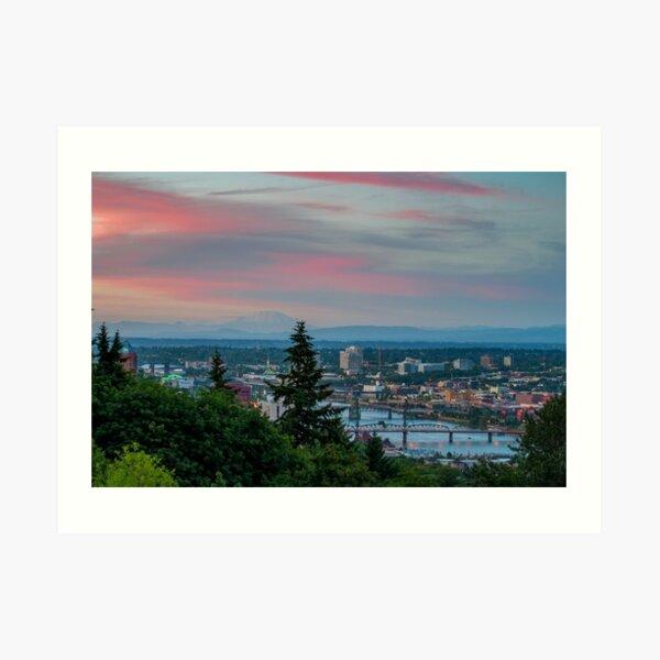 Portland Sunset from OHSU Art Print