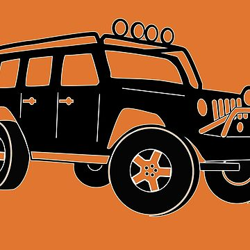 JK Jeep Wrangler Tourer Spec Front 3/4 Apparel | Tee Shirt, Hoodies & More - Black by TheStickerLab