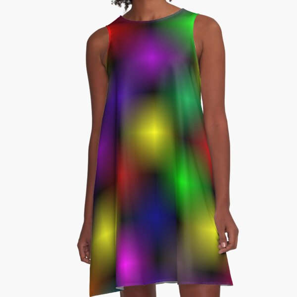 Simple, Glossy and  pretty overlapping color design  A-Line Dress