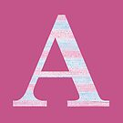 Letter A Blue And Pink Dots And Dashes Monogram Initial by theartofvikki