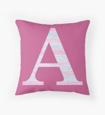 Letter A Blue And Pink Dots And Dashes Monogram Initial Throw Pillow