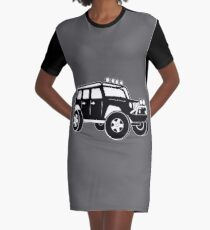 Jeep Wrangler Sticker / Decal - Front 3/4 Touring Design - Black Graphic T-Shirt Dress