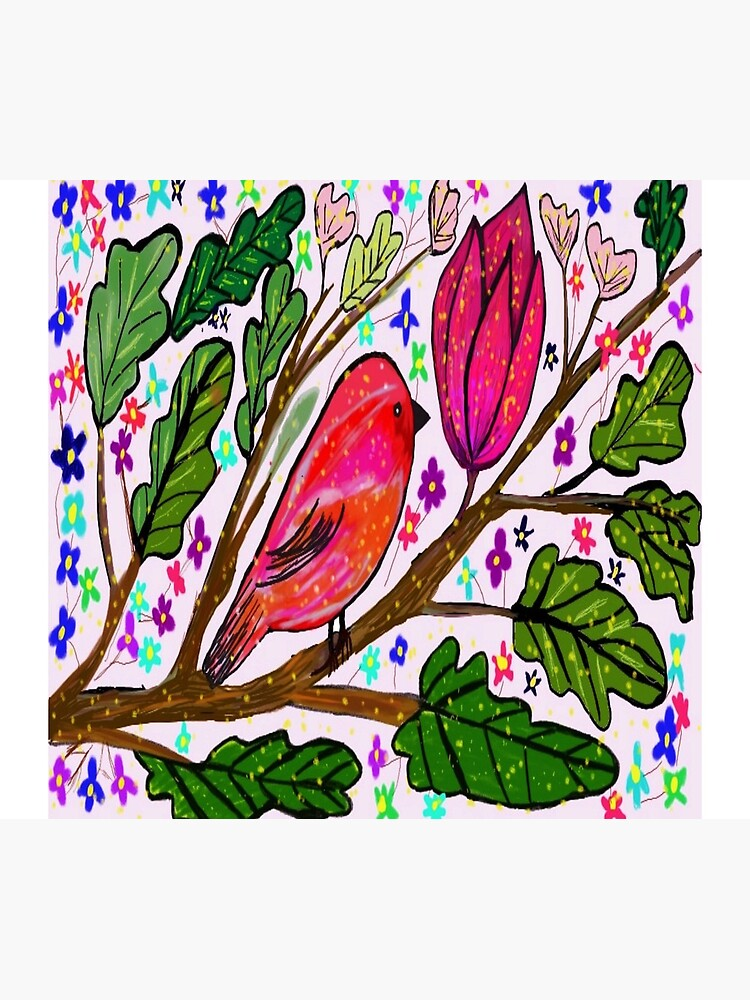 Leaves and Bird Print/ Design  by Culturetravel