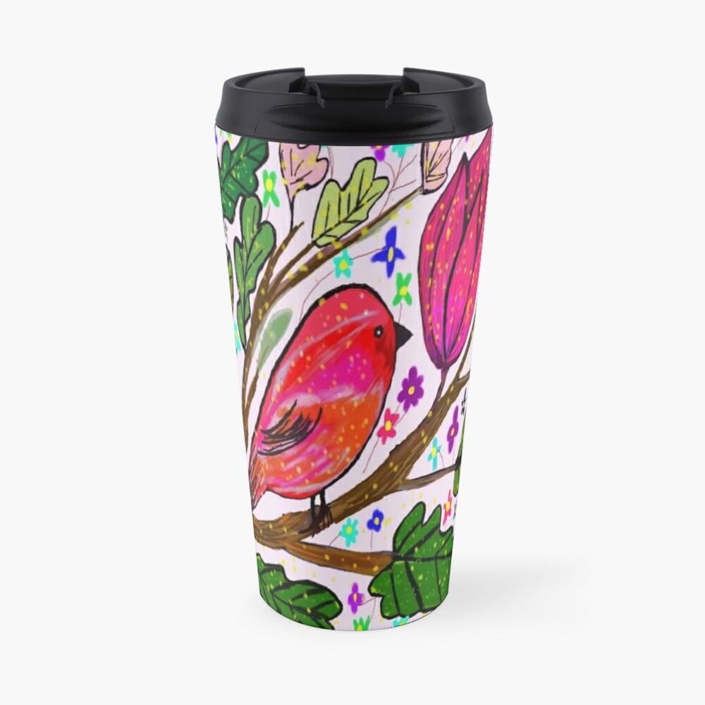 Leaves and Bird Print/ Design  Travel Mug