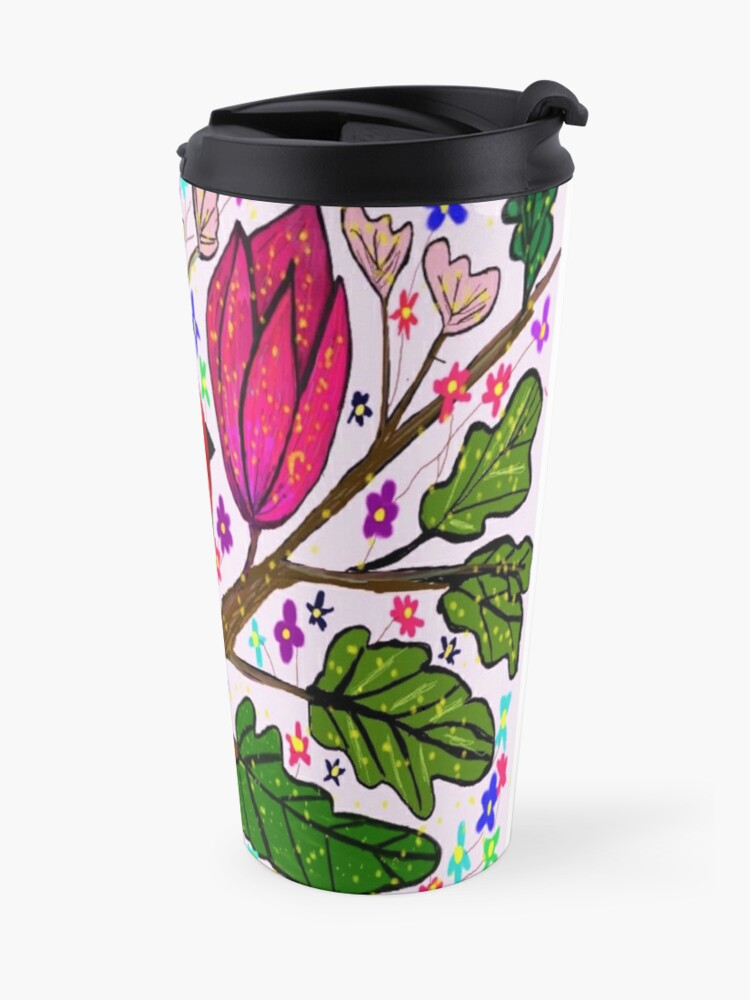 Alternate view of Leaves and Bird Print/ Design  Travel Mug