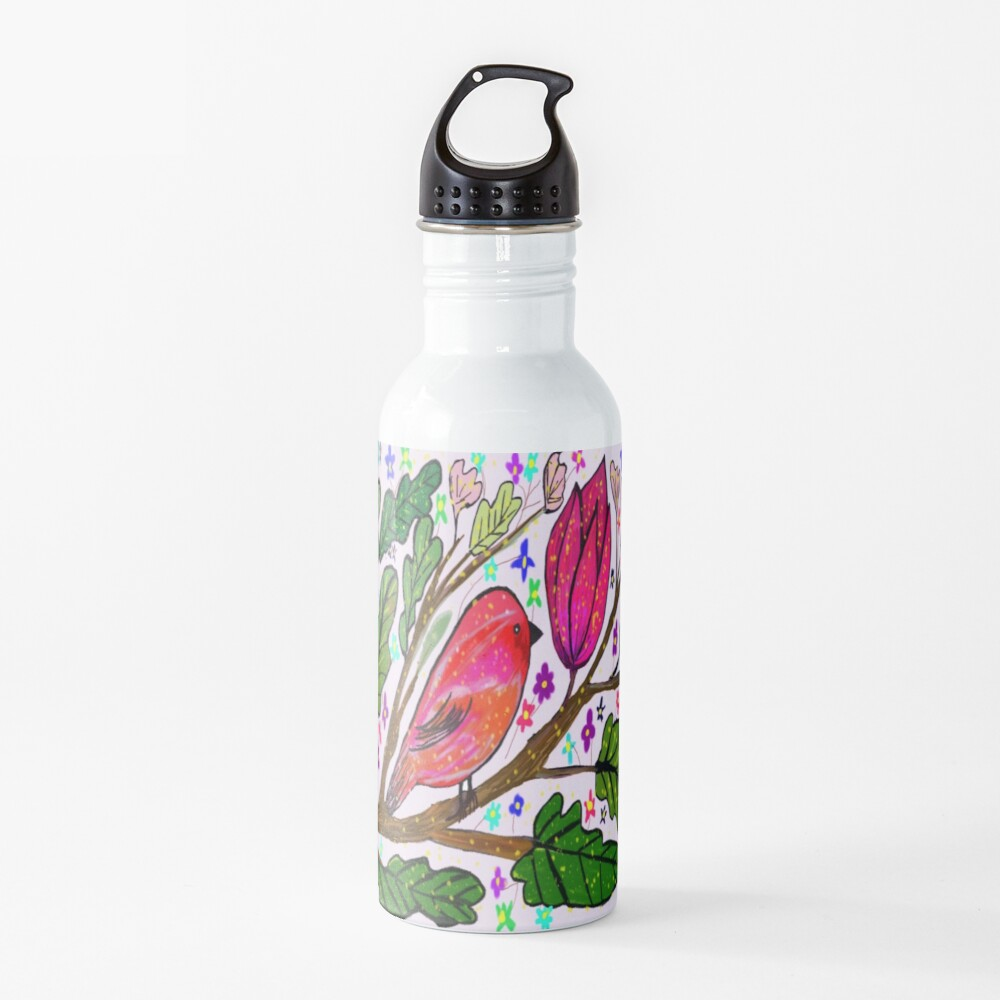 Leaves and Bird Print/ Design  Water Bottle