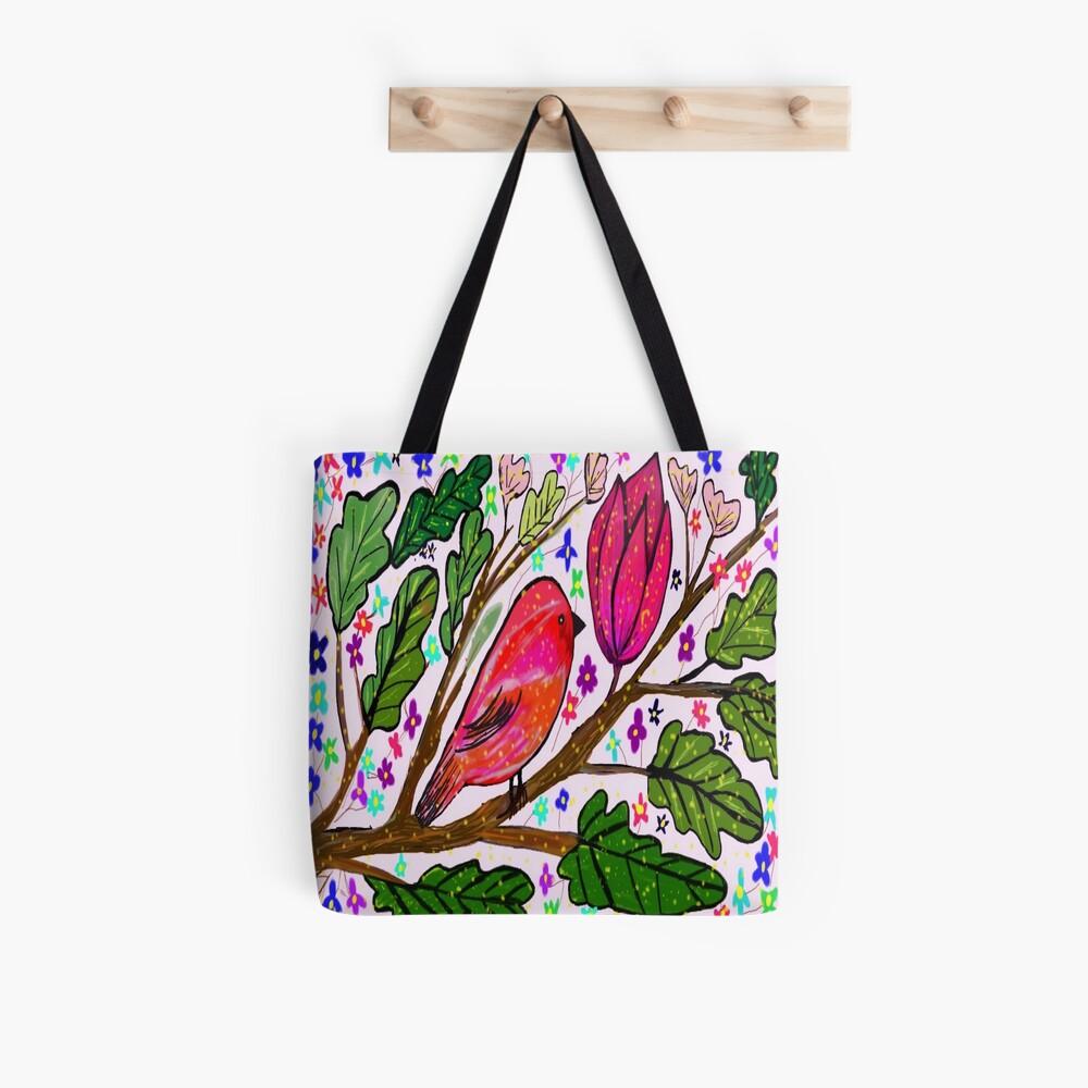Leaves and Bird Print/ Design  Tote Bag