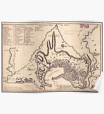 Vintage Map of Genoa Italy (1823) Poster