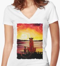 Calvin and Hobbes Art Painting Women's Fitted V-Neck T-Shirt