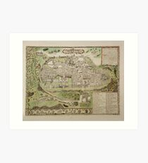 Vintage Map of Jerusalem Israel (16th Century) Art Print