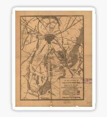 Vintage Map of The Gettysburg Battlefield (1863) Sticker
