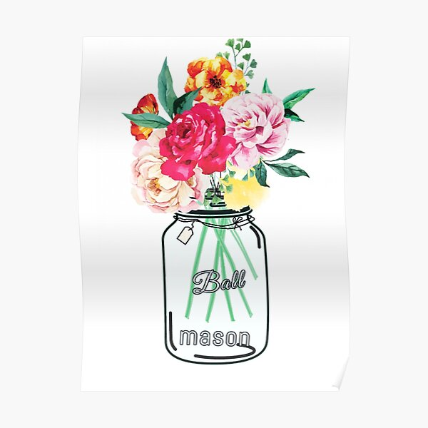 Mason Jar Flower Poster