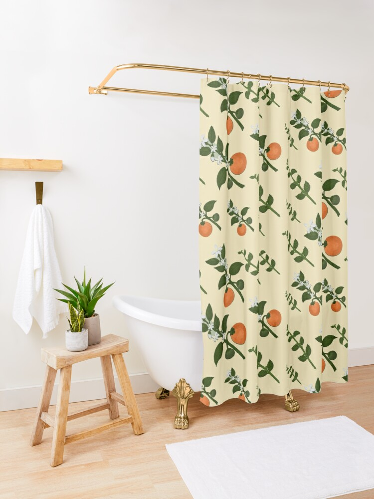 Alternate view of Minty Orange Home Shower Curtain