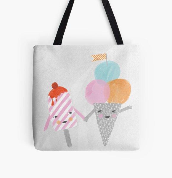 happy ice-cream illustration All Over Print Tote Bag