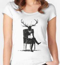 Hannibal Lecter NBC Stag Antlers Lamb Women's Fitted Scoop T-Shirt