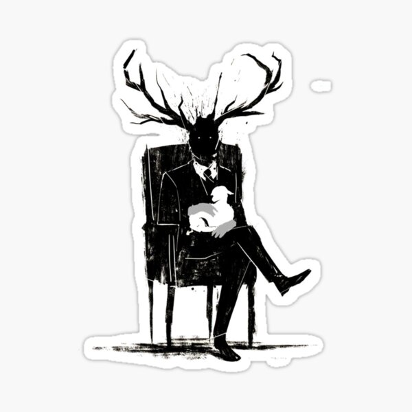Hannibal Lecter NBC Stag Antlers Lamb Sticker