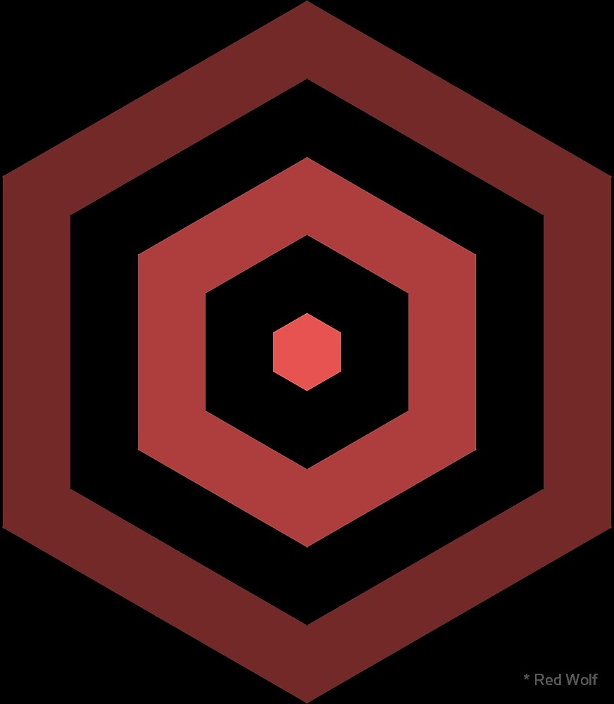 Geometric Pattern: Hexagon Hive: Dark Positive: Red by * Red Wolf